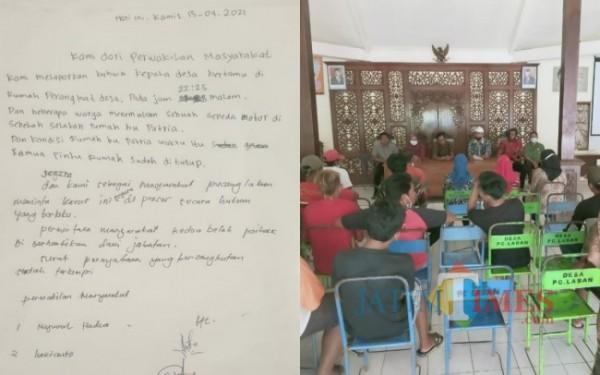 Surat yang ditulis warga agar kades diproses hukum. (Foto: Anang Basso/TulungagungTIMES)