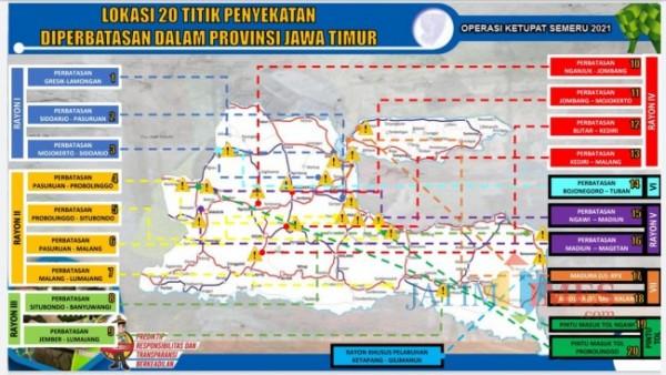 Tampak peta penyekatan di 20 titik yang tersebar di beberapa wilayah Provinsi Jawa Timur. (Foto: Tangkapan layar Ditlantas Polda Jawa Timur)