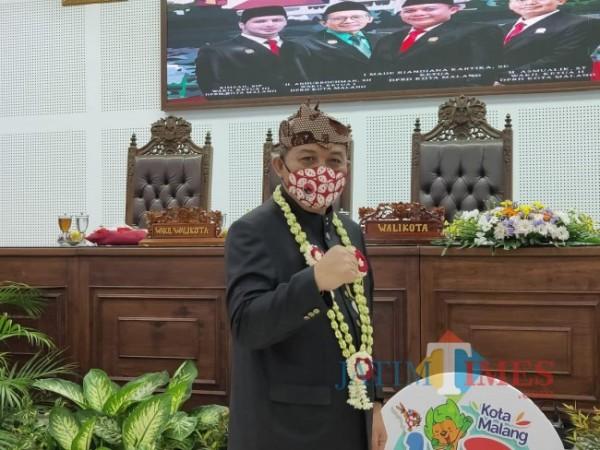 Ketua DPRD Kota Malang I Made Riandiana Kartika saat berada di Ruang Sidang DPRD Kota Malang, Kamis (1/4/2021). (Foto: Istimewa)