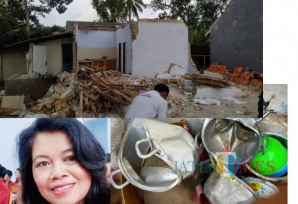 Rumah Bu Tien yang hancur, Inset Bu Tien (Foto : Media Sosial / JatimTIMES)