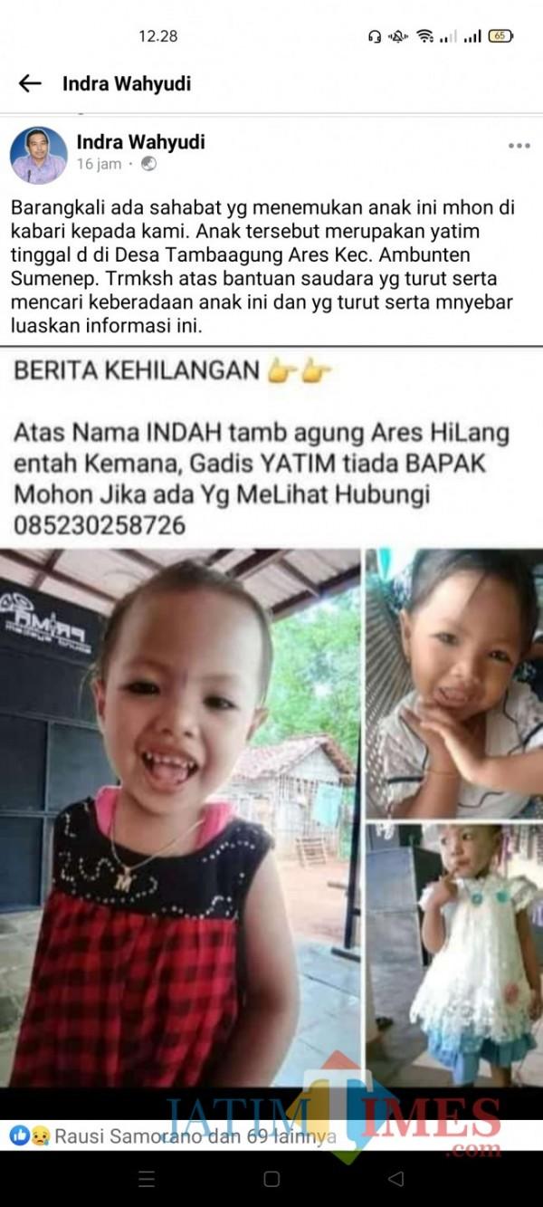 Postingan akun Facebook Indra Wahyudi soal hilangnya bocah 4 tahun asal Desa Tambaagung Ares, Ambunten Sumenep (Foto: Ist/SumenepTIMES)