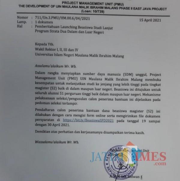 Surat edaran terkait beasiswa S2 yang disediakan UIN Malang untuk mempersiapkan calon dosen di empat prodi yang akan dibuka.(Ist)