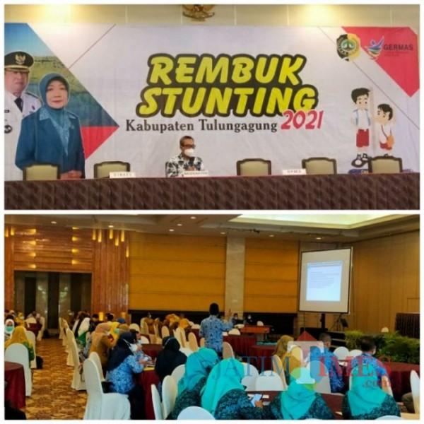 Tampak suasana Rembug Stunting yang digelar Pemkab Tulungagung, Senin (19/04/2021). (Foto: dok. Humas).