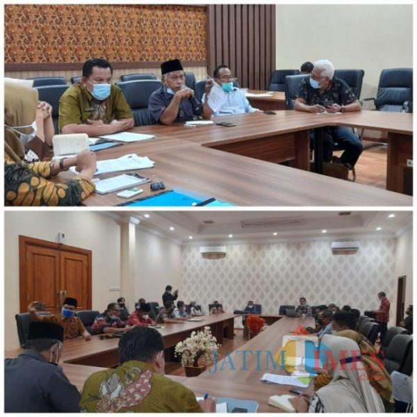 Tampak suasana hearing antara masyarakat Desa Kiping, LSM Bintara, dan Komisi D DPRD Tulungagung. Selasa (20/04/2021). (Foto: Muhsin/TulungagungTimes)