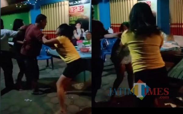 Potongan video detik-detik perkelahian dua pemandu lagu di Tulungagung. (Foto: Istimewa)