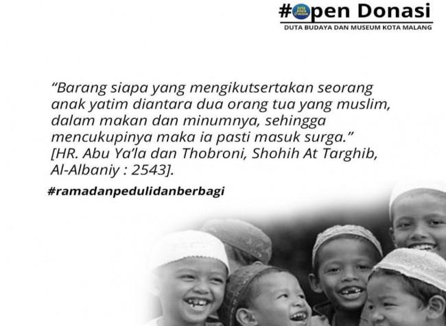 Duta Budaya dan Museum Kota Malang, inisiasi open donasi untuk membantu anak yatim di Kota Malang (Ist)