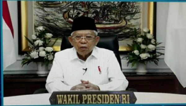 Wakil Presiden RI, K.H Ma'ruf Amin dalam Puncak Peringatan Hari Otonomi Daerah yang digelar secara virtual, Senin (26/4/2021) kemarin (foto: istimewa)