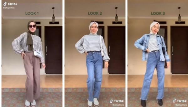 Inspirasi stripes outfit buat yang berhijab agar tampak lebih stylish. (Foto: Instagram @tipsootd.hijabstyle).
