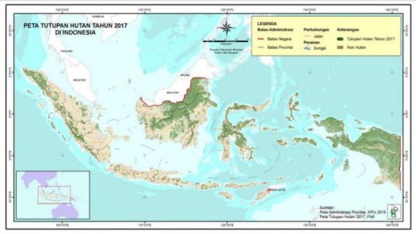Peta tutupan hutan tahun 2017 di Indonesia. (Foto: Forest Watch Indonesia)