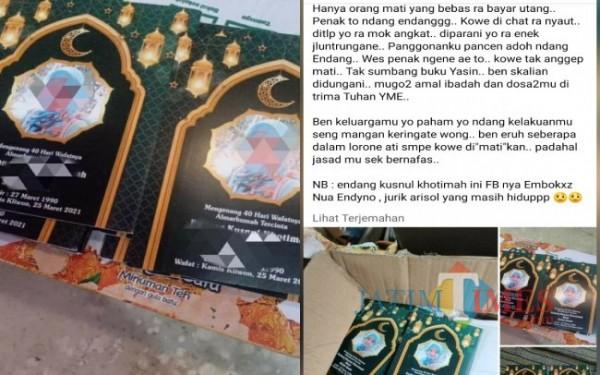EK dan postingan Herlina di Medsos yang kini viral. (Foto: Istimewa).
