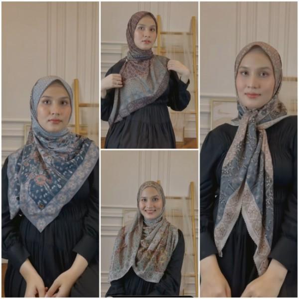 Stylish, cara berbeda kenakan hijab segi empat. (Foto: Instagram @dwihandaanda).