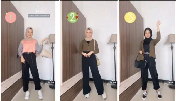 Inspirasi busana simple tapi tetap modis untuk acara nongkrong. (Foto: Instagram tipsootd.hijabstyle).
