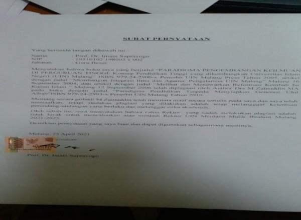 Surat pernyataan dari mantan Rektor UIN Malang yang sempat beredar di Whatsapp (Ist)