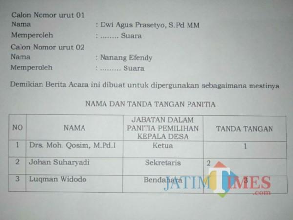 Contoh Berita Acara Pemilihan PAW Kades Karangrejo Kecamatan Boyolangu. (Foto: Dok. Panitia)