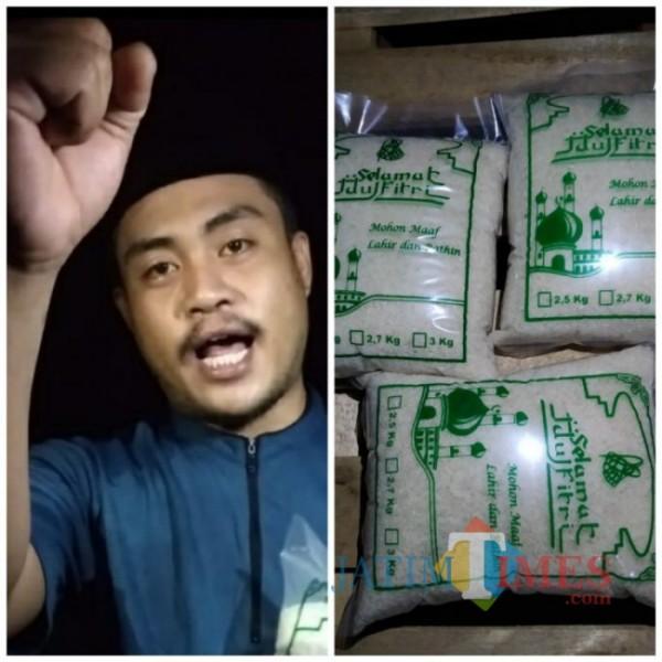 Potongan video pendek Rochman Syai'in saat memasarkan produknya dan foto produknya. (Foto: Tangkapan layar dari video)