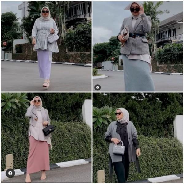 Cara buat pemakaian rok span lebih modis ala hijabers. (Foto: Instagram @nabilahatifa).