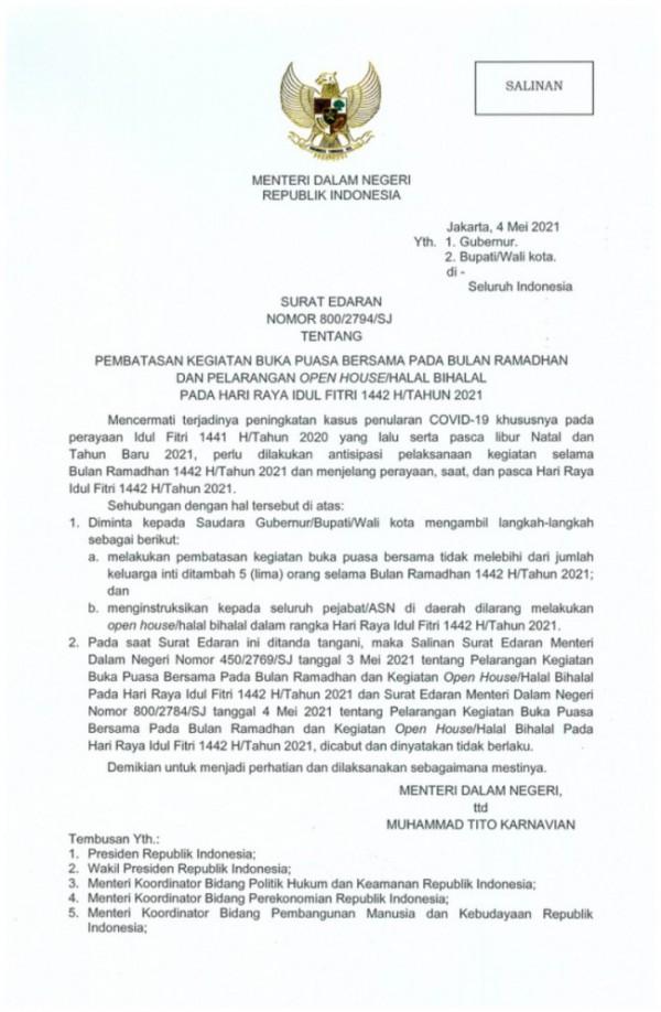 SE Mendagri Nomor: 800/2794/SJ tertanggal 4 Mei 2021 tentang pembatasan kegiatan buka puasa bersama dan perayaan Hari Raya Idul Fitri 1442 Hijriah. (Foto: Istimewa)