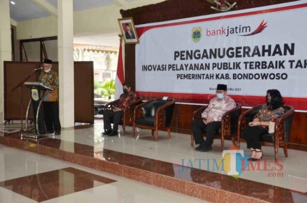 Bupati Bondowoso Salwa Arifin saat memberikan sambutan (Foto: Abror Rosi/JatimTimes)