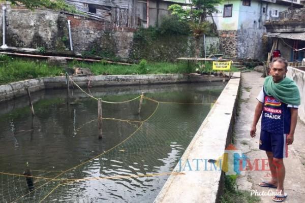 Kolam budidaya ikan milik warga yang menggunakan air dari Sungai Kebo. (Foto: Irsya Richa/MalangTIMES)