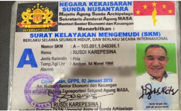 Pria yang mengaku jenderal Kekaisaran Sunda Nusantara. (Foto: detiknews)