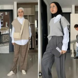 Inspirasi Academia Outfit Menggunakan Vest ala Hijabers, Stylish dan Mudah Ditiru!