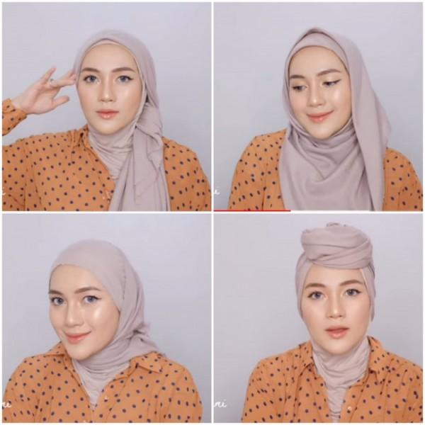 Inspirasi gaya beda hijab segi empat ala hijabers. (Foto: screenshoot Youtube Ashry Rabani).
