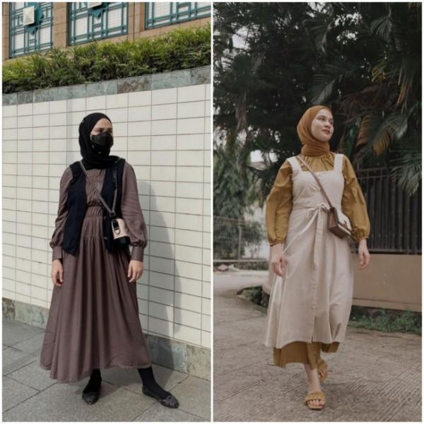 Cara lain pakai dress agar tampak lebih stylish ala hijabers. (Foto: Instagram @dwihandaanda).