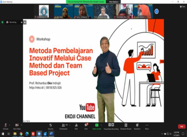 workshop yang memberikan materi tentang Metode Pembelajaran Inovatif Kreatif Melalui Case Method dan Team Based Project Learning (Ist) dengan Materi Pembelajaran Kreatif Inovatif