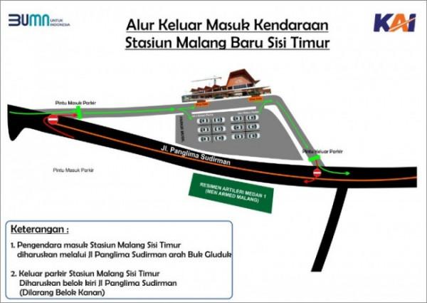 Denah jalur keluar-masuk kendaraan di Stasiun Malang yang berada di Sisi Timur (Foto istimewa)
