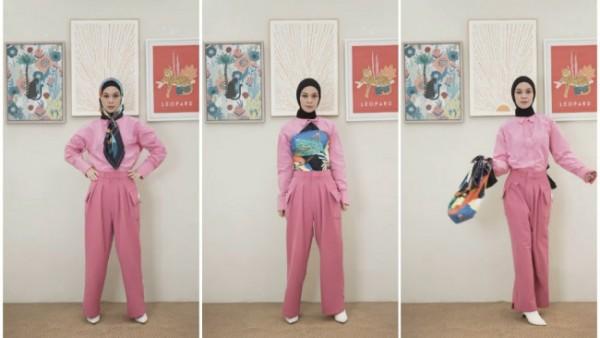 Penggunaan scarf untuk jadi item fashion tambahan ala Tantri Namirah. (Foto: Instagram @tantrinamirah).