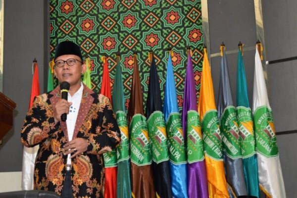 Rektor Unisma Prof Dr Maskuri MSi saat memberikan sambutan dalam Halal Bihalal Unisma (19/5/2021)(Ist)