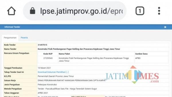 Tangkapan layar LPSE Jatim