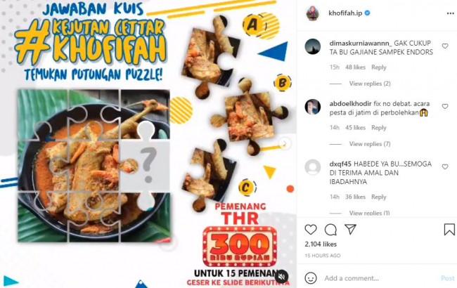 Postingan Instagram Khofifah 4