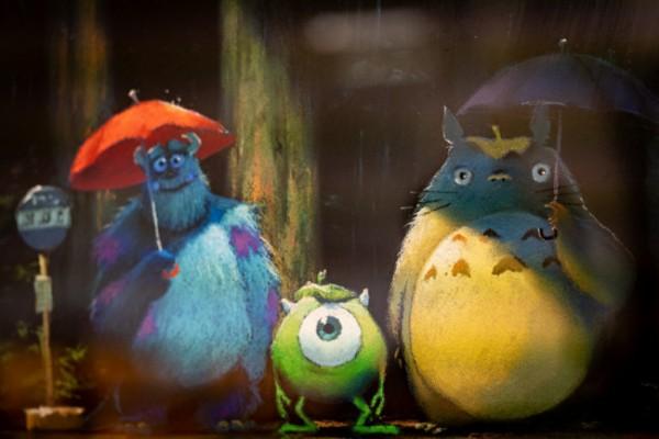Karakter Monster Inc muncul bersama Totoro. (Foto: Twitter @JP_Ghibli).