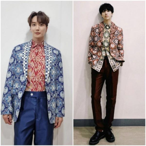 Dua personel boy band Korea Super Junior saat mengenakan batik. (Foto: Instagram).