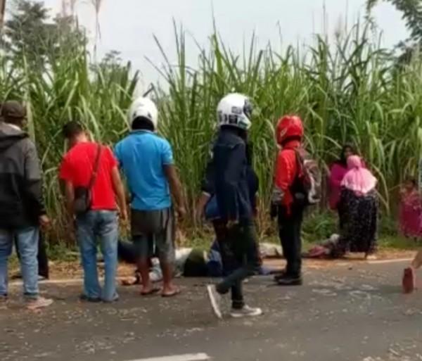 Kerumunan masyarakat yang melihat korban kecelakaan (foto: istimewa)