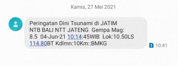 Tangkapan layar peringatan gempa bumi berkekuatan besar yang akan terjadi (tangkapan layar)