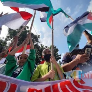 Dukung Palestina, Ratusan Massa Gelar Aksi Demo di Kediri