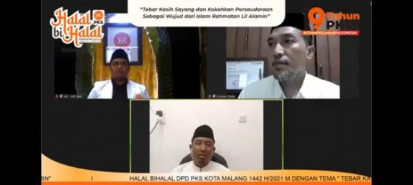 Halalbihalal virtual DPD PKS Kota Malang. (Foto: Istimewa).
