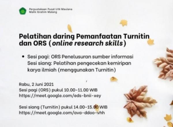 Informasi pelatihan ORS dan pelatihan pengecekan kemiripan karya ilmiah (uinmaliki_library)