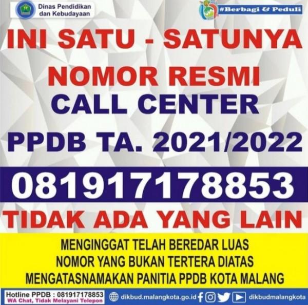 Poster nomor call center PPDB Kota Malang (Ist)