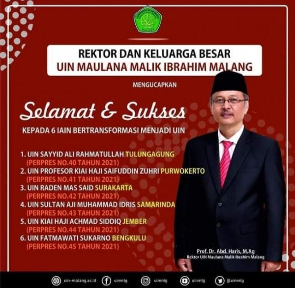 Rektor UIN Maliki Malang Prof Abdul Haris yang mengapresiasikan transformasi enam IAIN yang berganti UIN (Ist)