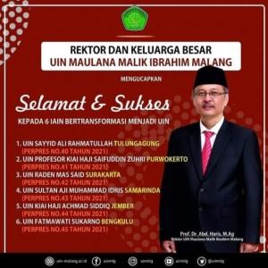 6 IAIN Bertransformasi Jadi UIN, Rektor UIN Maliki Malang Beri Apresiasi dan Harapkan Sinergitas