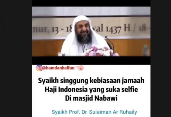 Syekh Arab Saudi sindir jamaah haji Indonesia.(Foto: YouTube Aby23)