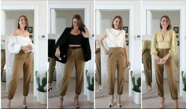 Busana-busana atasan yang cocok dikenakan dengan celana warna cokelat. (Foto: Instagram @fustany).