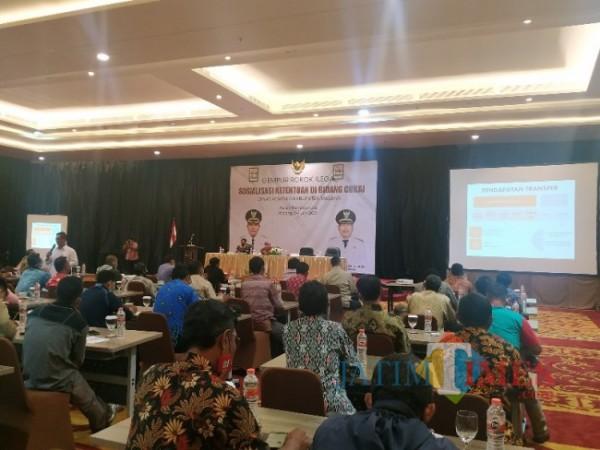 Dinas Kominfo Kabupaten Malang gelar sosialisasi ketentuan di bidang Cukai. Acara itu berlangsung Ascent Premiere Hotel, Malang, Kamis (3/6/2021) (foto: Mariano Gale/Jatim Times)