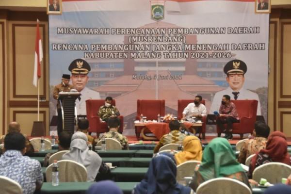 Pemerintah Kabupaten Malang gelar acara Musrenbang rencana RPJMD 2021-2026 di hotel Ijen Suites Kota Malang, Kamis (3/6/2021) (Foto Humas Pemkab Malang)