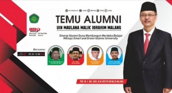 """Temu Alumni UIN Maliki Malang dengan tema """"sinergi alumni guna membangun merdeka belajar menuju smart and green islamic university"""", Senin (7/6/2021) (Ist)"""
