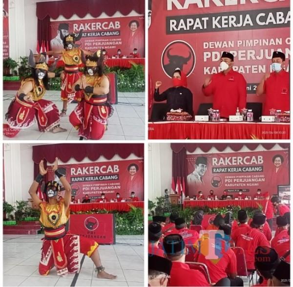 Lima Dewan Pimpinan Cabang (DPC) Partai Demokrasi Indonesia Perjuangan (PDIP) dapil tujuh Jawa Timur menggelar rapat kerja cabang (rakercab) di kantor sekretariat PDIP Kabupaten Ngawi. (Foto: Satria Romadhoni/NgawiTIMES)