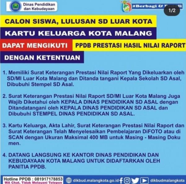 Poster PPDB peserta SD Luar Kota Malang bisa mendaftar mengikuti jalur prestasi nilai raport (Ist)